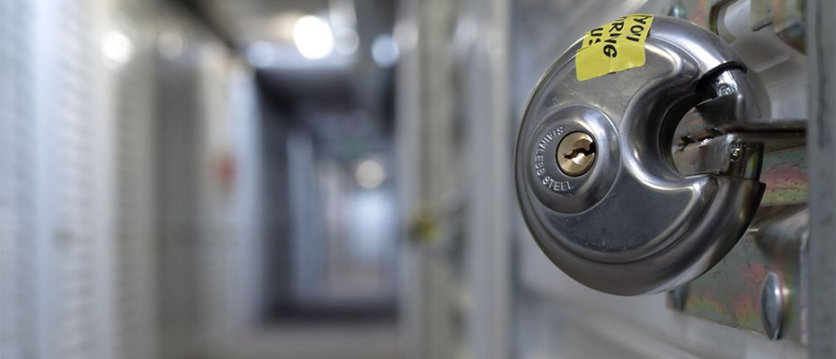 Strong, stainless steel lock at storage facility